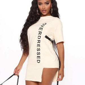 Fashion Nova Overdressed Tunic Top - Cream/combo